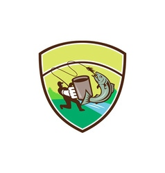 Fly Fisherman Mug Salmon Crest Retro vector image