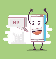 funny smartphone comic character vector image
