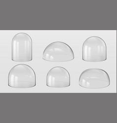 Glass domes 3d realistic spherical and hemisphere vector
