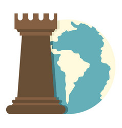 Globe earth and chess rook icon isolated vector