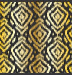gold diamond ikat seamless pattern swatch on black vector image