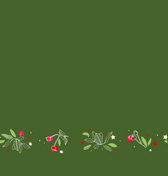 green repeat border with rose plant and stars vector image