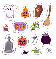 halloween carnival symbols patchwork vector image