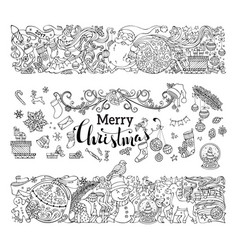Hand-drawn doodles merry christmas decorations vector
