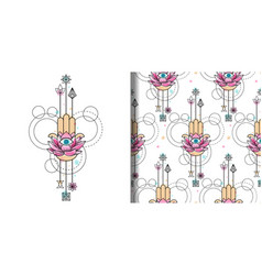 Hand of fatima watercolor print and seamless vector