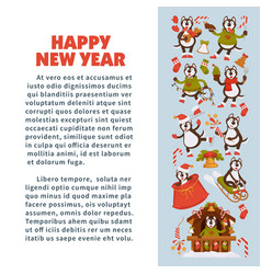 Happy new year 2018 poster with husky dog in vector
