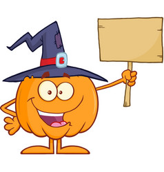 happy witch pumpkin holding a blank sign vector image