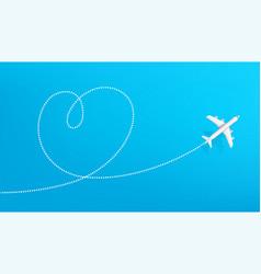 Honeymoon travel destination airplane drawing vector