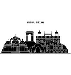 India delhi architecture urban skyline with vector