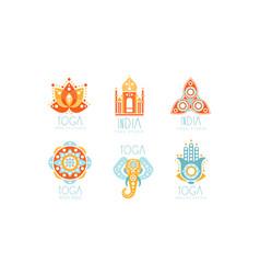 india yoga studio logo set health studio labels vector image