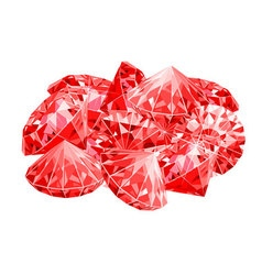 Isolated handful of red rubies Game desing vector