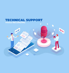 isometric technical support vioce recording and vector image
