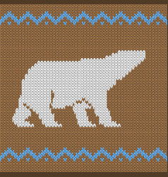 knitted brown seamless pattern with polar bear vector image