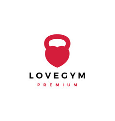 love gym kettlebell fitness logo icon vector image