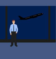 man at international airport vector image