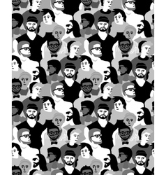Man only crowd group gray scale seamless pattern vector image