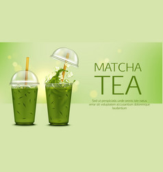 matcha green tea with ice cubes in takeaway cup vector image