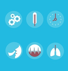 Medical Icons on the theme of respiration a vector