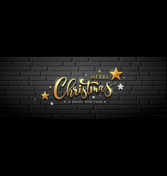 merry christmas message gold design vector image