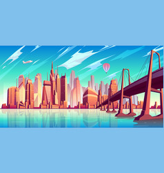 Metropolis skyline cartoon background vector
