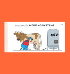 Milk dairy production landing page template vector