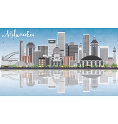 Milwaukee Skyline with Gray Buildings vector image