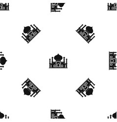 mosque pattern seamless black vector image