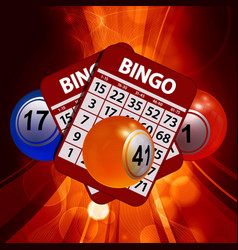 New 3d bingo balls and cards on glowing background vector