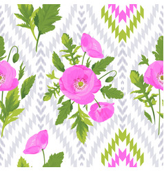Pattern with flowers leaves ikat elements vector