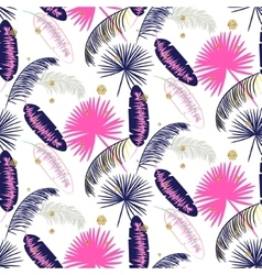 Pink and blue banana palm leaves seamless vector image vector image