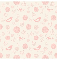 Pink seamless pattern with birds and flowers vector image