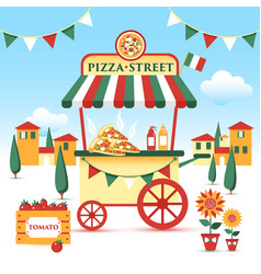 pizza street food cart colorful vector image