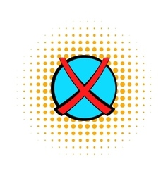 Red cross check mark icon comics style vector