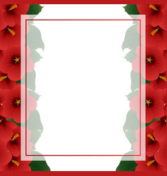 red hibiscus flower - rose of sharon banner card vector image