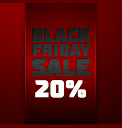 Red ribbon with black friday sale twenty percent vector
