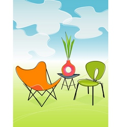 retro outdoor patio vector image vector image