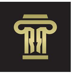 rr logo monogram with pillar style design vector image