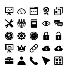 seo and digital marketing glyph icons 5 vector image