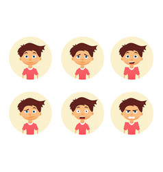 set emotion cute boy facial expression vector image