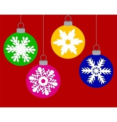 Set of Christmas balls decorated with snowflakes vector image vector image