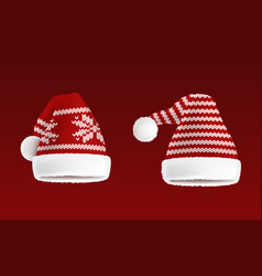 set of two knitted santa hats with pattern vector image