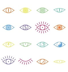 Set of Various Color Eye Icons on White Background vector image