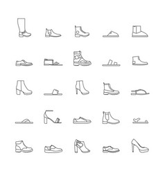 shoes outline icons vector image