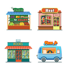 Shops set meat shop farm products pizza books vector