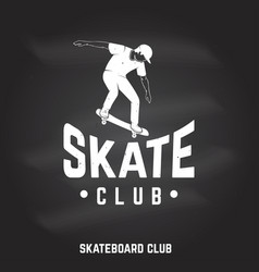 skate club sign on the chalkboard vector image
