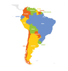 south america region map countries in southern vector image
