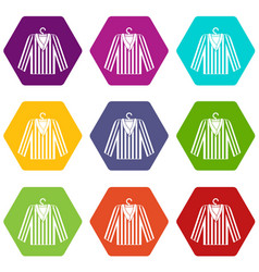Striped pajama shirt icon set color hexahedron vector