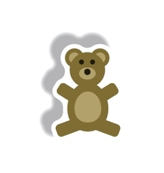 Stylish icon in paper sticker style toy bear vector