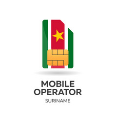 Suriname mobile operator sim card with flag vector