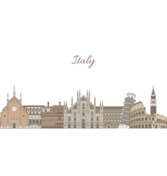 Template with famous Italian landmarks vector